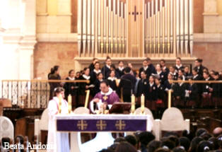Choir chanting during Lent - Ash Wednesday Celebration in the Church of Nativity in Bethlehem, West Bank