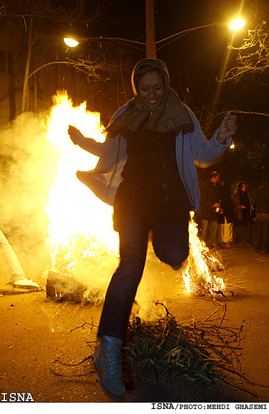 Iranian Youth Celebrate the Ancient Chaharshanbeh Suri Fire Festival in Tehran despite ban by the Government, Red Wednesday or Fire Wednesday is celebrated Tuesday Eve of last ednesday of the Persian year