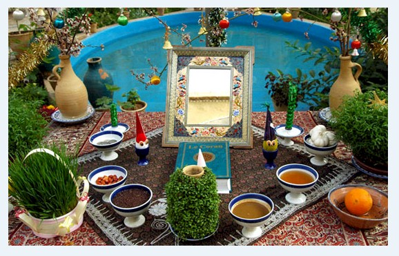 Persian New Year 2574 Ceremonial New Year Spread caled Haft-Seen from FarsiNet with Prayers and Best Wishes for all Iranian, Afghans, Kurds, Tajiks, ... who celebrate NowRuz